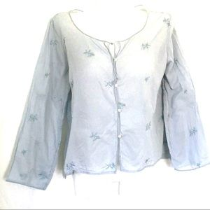 Abercrombie Embroidered Semi Sheer Blue Cotton LGE
